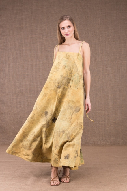 SABA long flared dress in organic cotton eco print 1