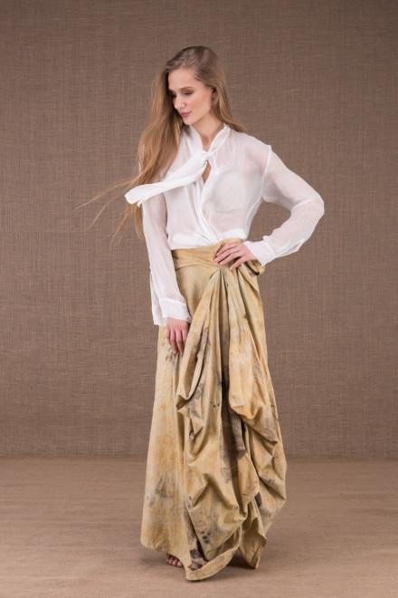 SAOLI jupe longue portefeuille en coton bio eco print 1