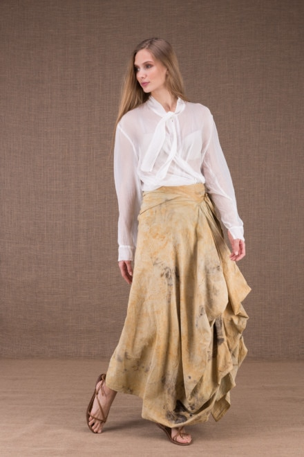 SAOLI long wrap skirt in organic cotton eco print 2