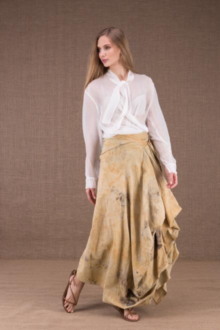 SAOLI jupe longue portefeuille en coton bio eco print 2
