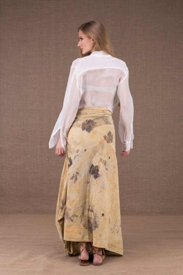 SAOLI long wrap skirt in organic cotton eco print 4