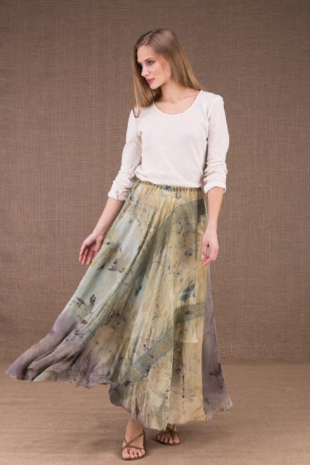 WANDA jupe longue evasée en coton bio et soie eco print 1