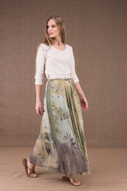 WANDA long flared skirt in organic cotton and eco print silk 2