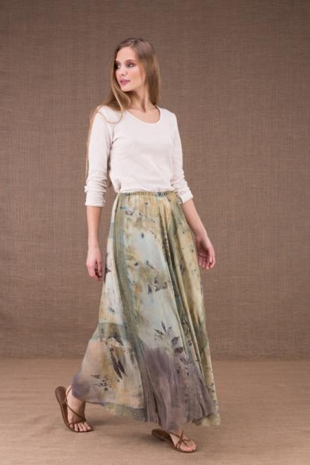 WANDA jupe longue evasée en coton bio et soie eco print 2