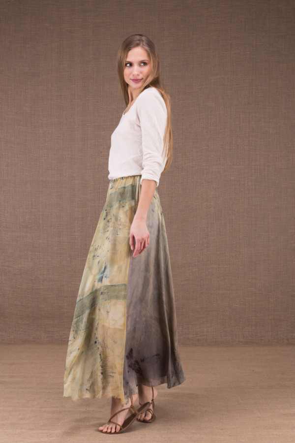 WANDA long flared skirt in organic cotton and eco print silk 3