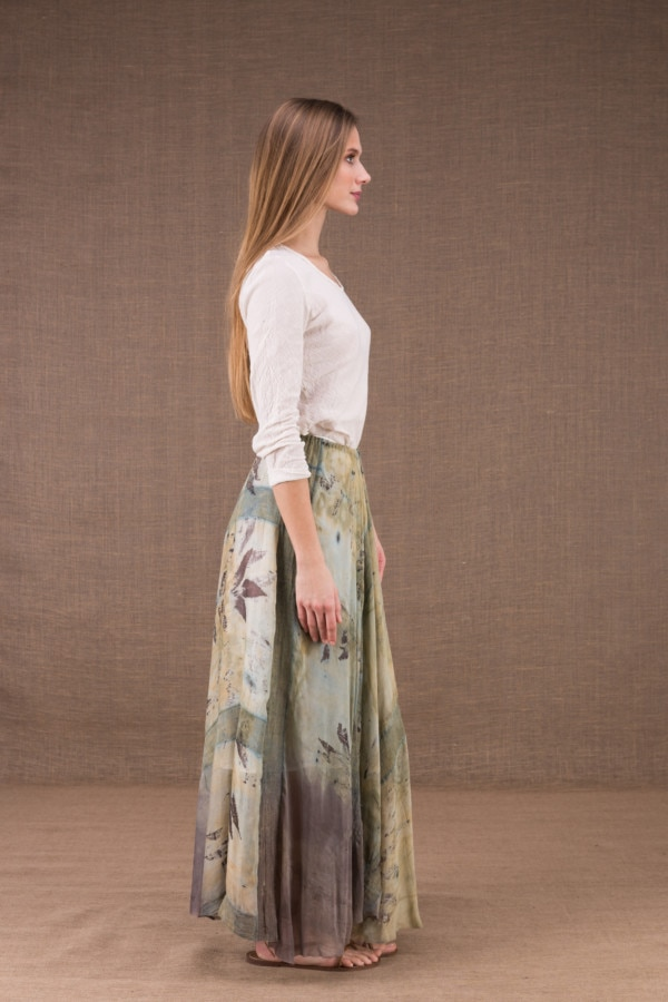 WANDA long flared skirt in organic cotton and eco print silk 4
