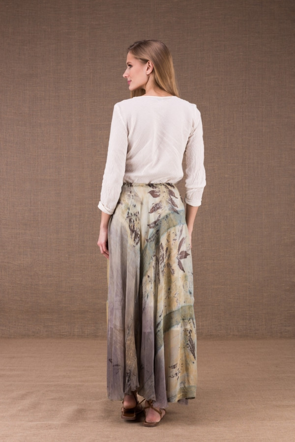 WANDA long flared skirt in organic cotton and eco print silk 5