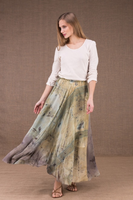 WANDA long flared skirt in organic cotton and eco print silk 1