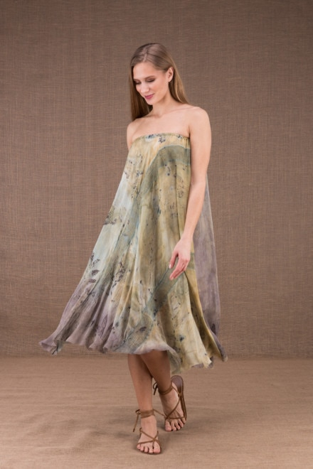 WANDA flared mid-length dress in organic cotton and eco print silk 2