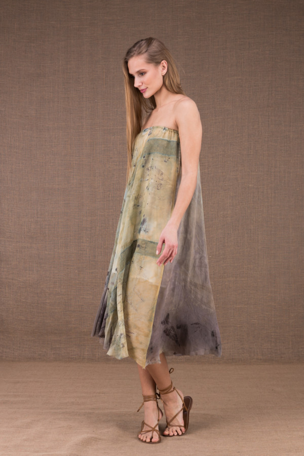 WANDA flared mid-length dress in organic cotton and eco print silk 3