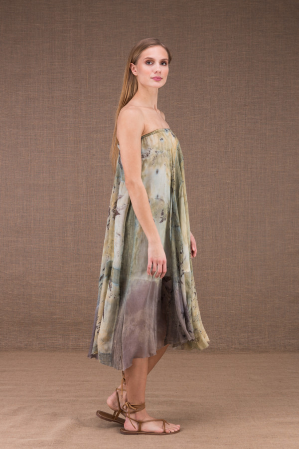 WANDA flared mid-length dress in organic cotton and eco print silk 4