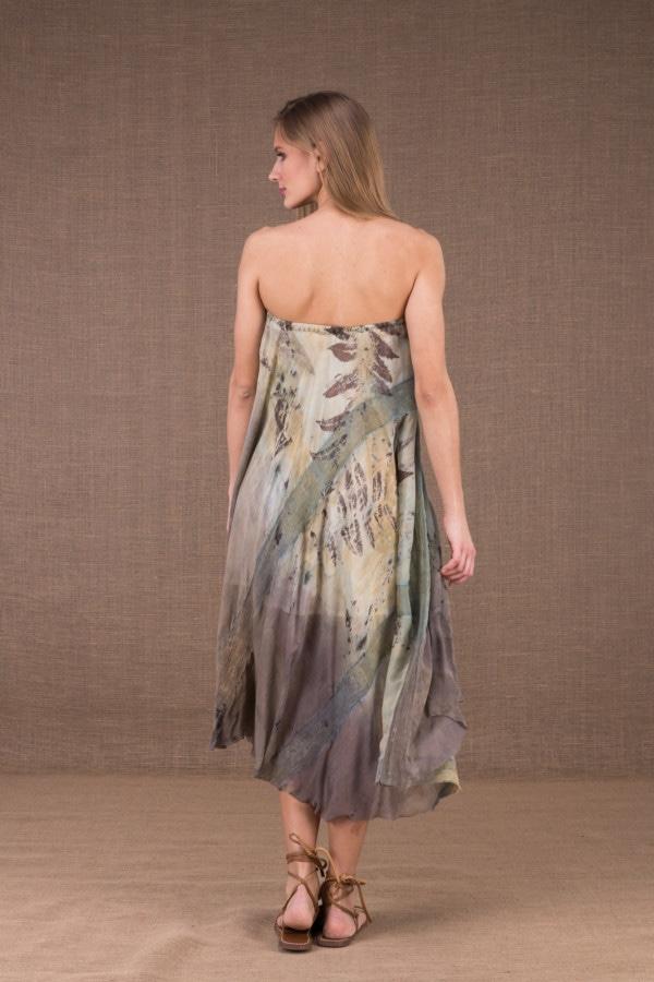 WANDA robe evasée mi longue en coton bio et soie eco print 5