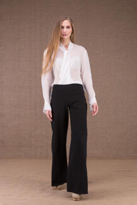 WOW Noir pantalon taille haute en coton bio 1