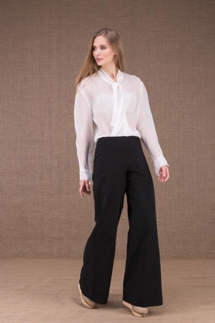WOW Noir pantalon taille haute en coton bio 2