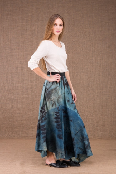 DANY long flared organic cotton and silk eco print skirt 2