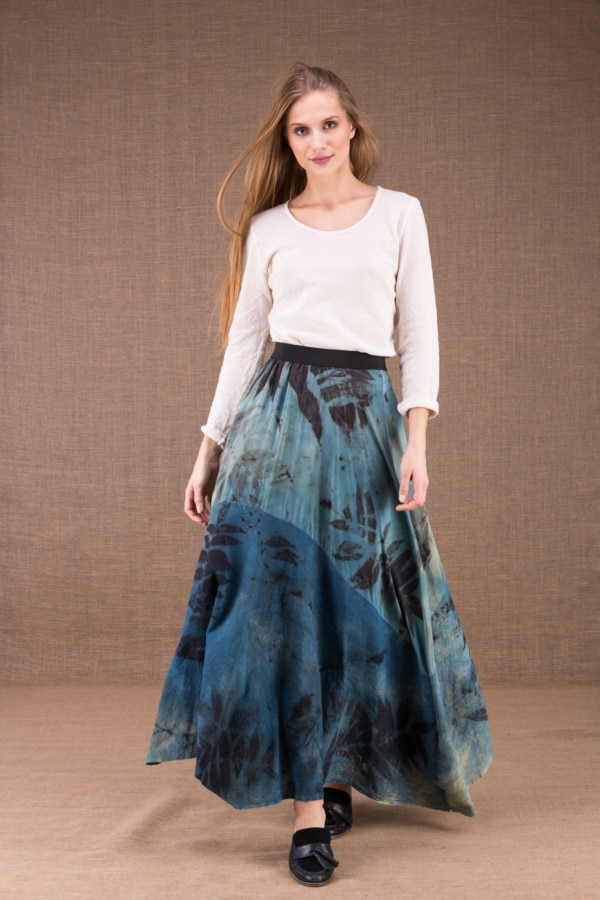 DANY long flared organic cotton and silk eco print skirt 1