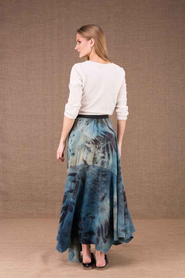 DANY long flared organic cotton and silk eco print skirt 3