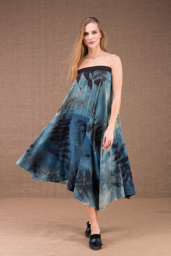DANY long flared organic cotton and silk eco print dress 2