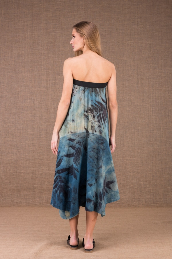 DANY long flared organic cotton and silk eco print dress 4