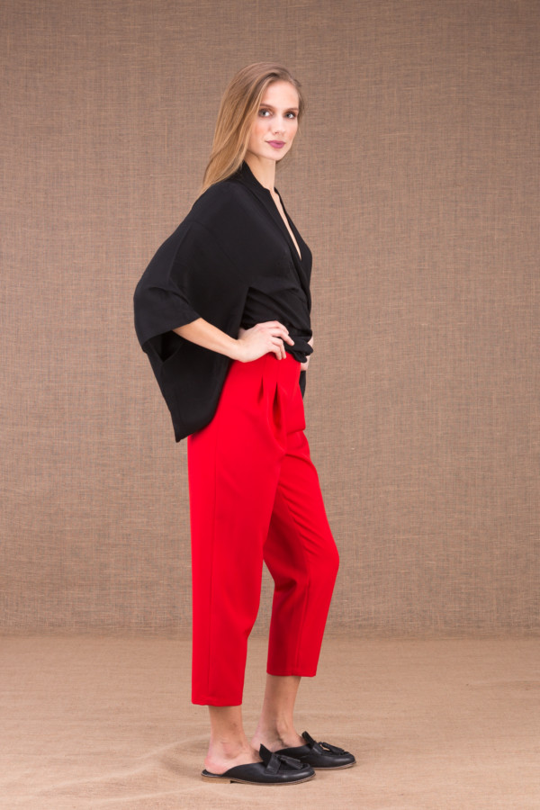 DZIK Red high waist pants 3