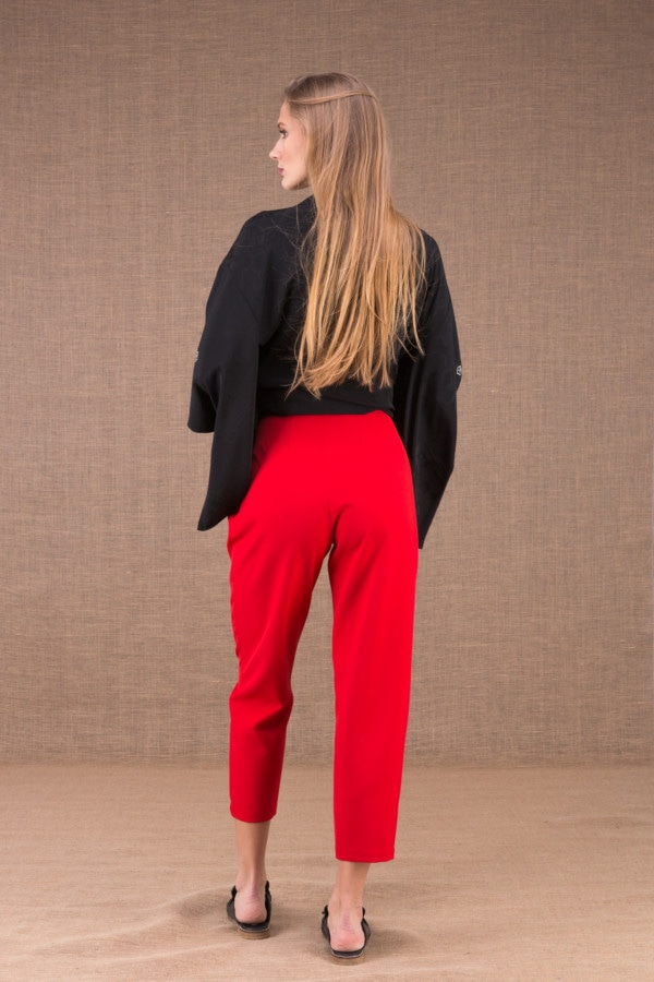 DZIK Red high waist pants 4