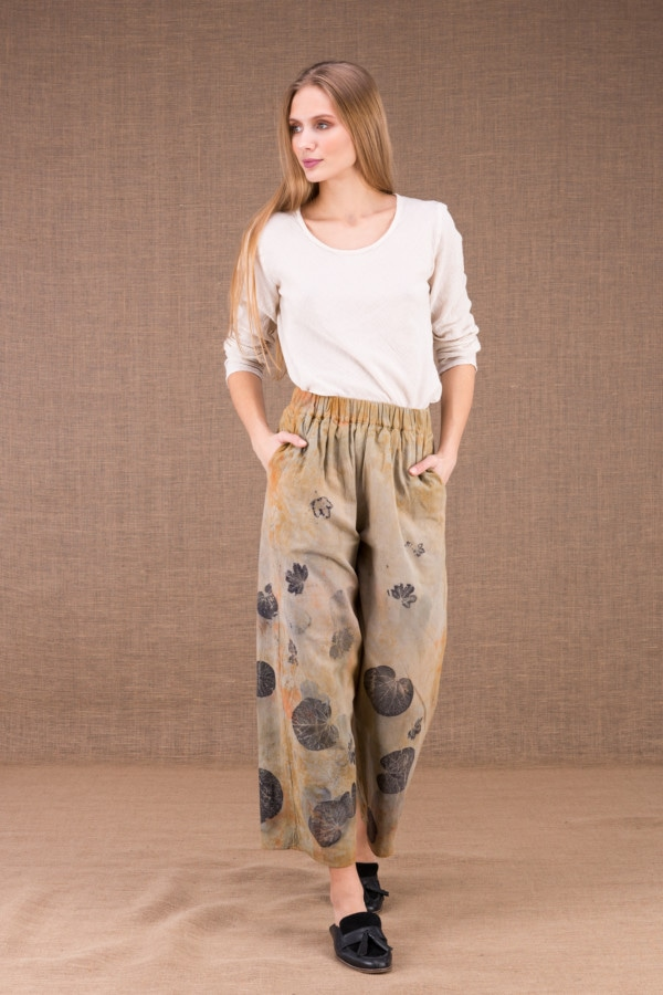 HALNY pantalon large en coton bio eco print 1