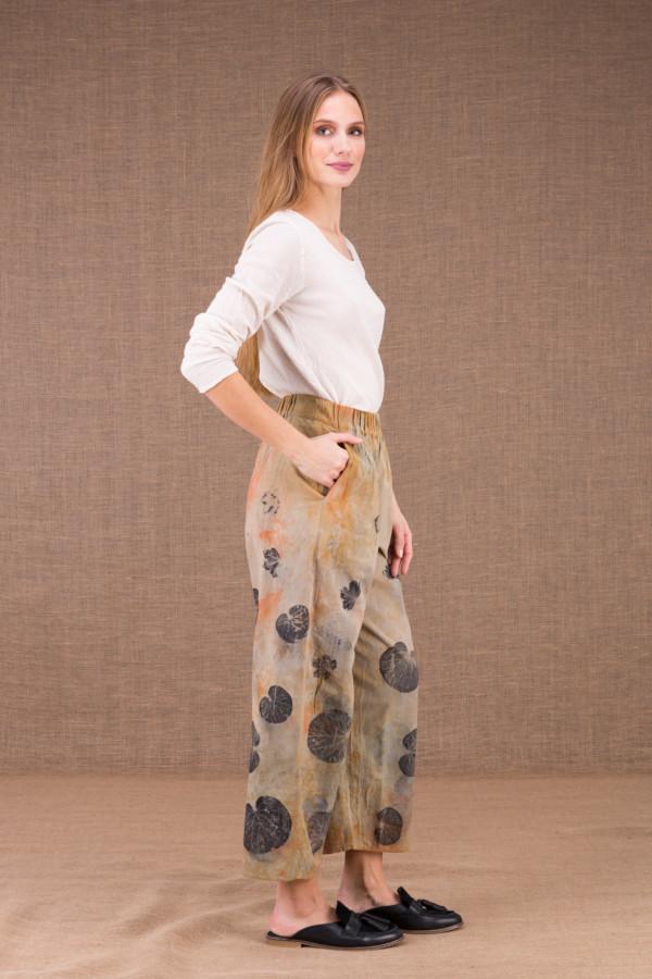 HALNY pantalon large en coton bio eco print 2