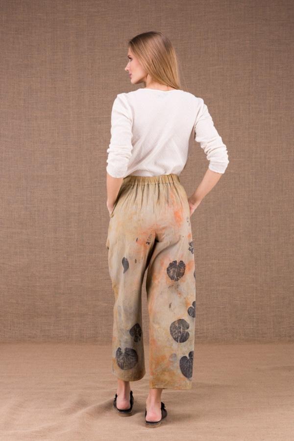 HALNY pantalon large en coton bio eco print 3