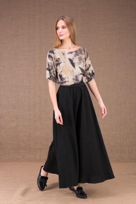 MAYA Noire jupe longue evasée en coton bio 1