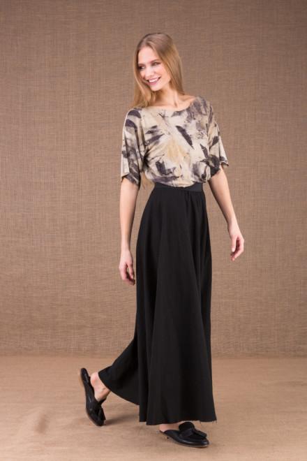 MAYA Noire jupe longue evasée en coton bio 2
