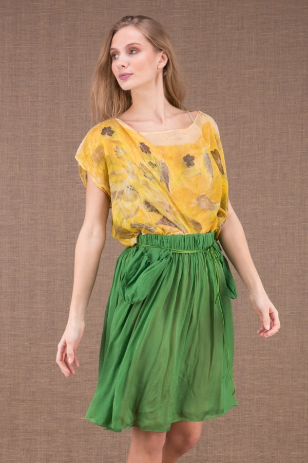 MISIA Green short silk skirt