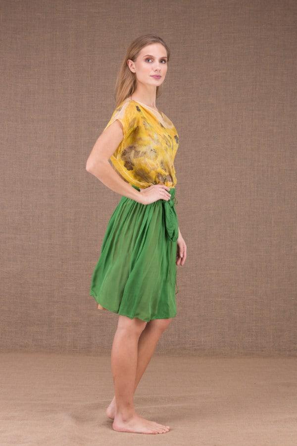 MISIA Verte jupe courte en soie 3