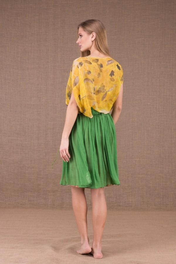 MISIA Verte jupe courte en soie 4