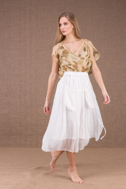 MISIA White mid-length silk skirt 1