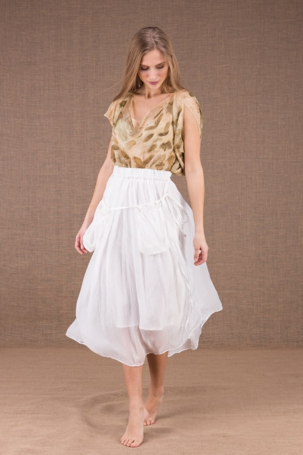 MISIA White mid-length silk skirt 2
