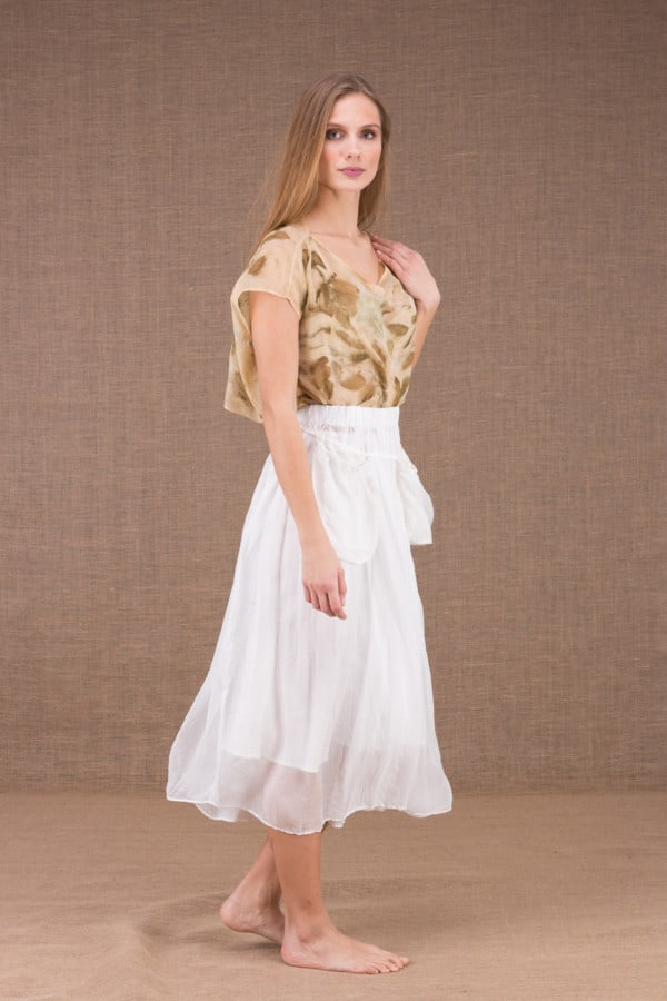 MISIA White mid-length silk skirt 3