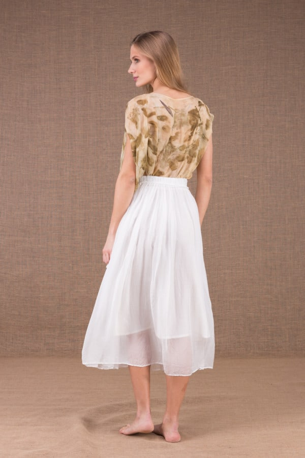 MISIA White mid-length silk skirt 4