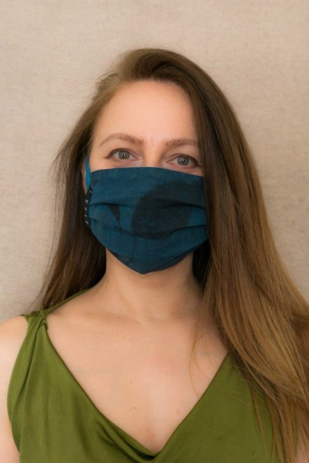 BLUE RHAPSODY Protective mask in eco print organic cotton - 3