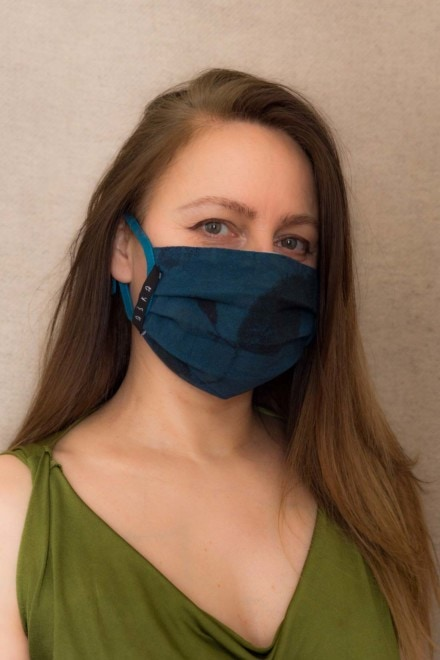 BLUE RHAPSODY Protective mask in eco print organic cotton - 4