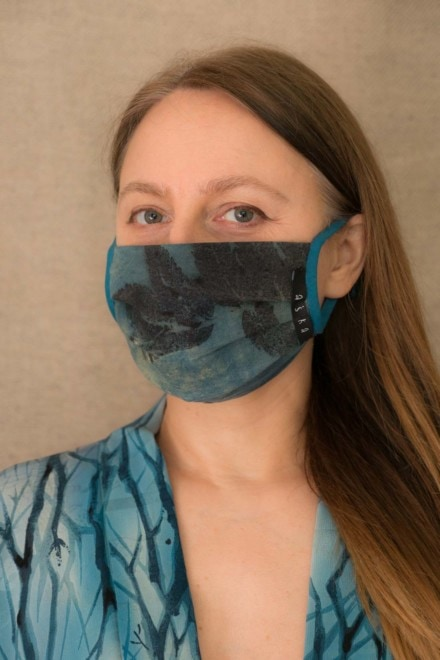 LAGUNE-BLEUE Masque de protection en- coton bio eco print - 2