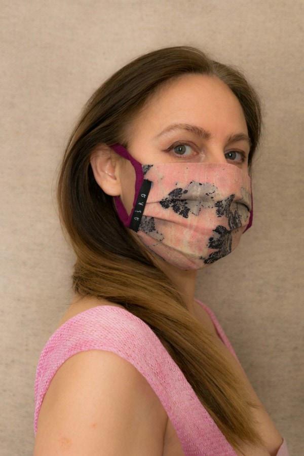 PRIMAVERA Protective mask in eco print organic cotton - 2