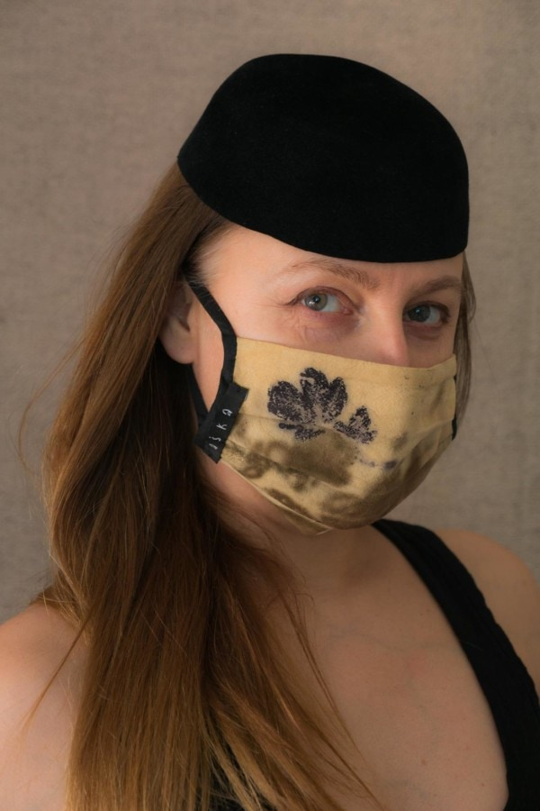 VEGETAL Masque de protection en- coton bio eco print - 1