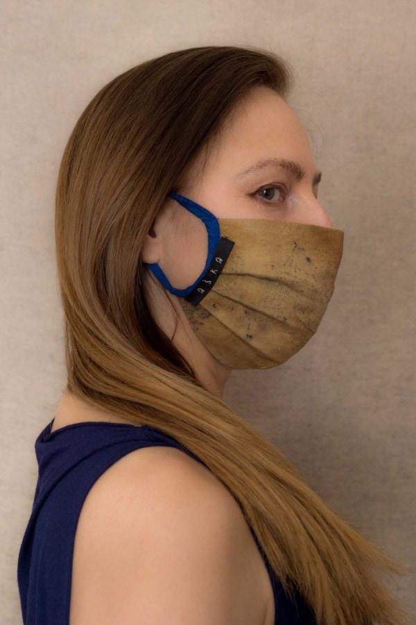 SAHARA Barrier mask in organic cotton eco print - 3