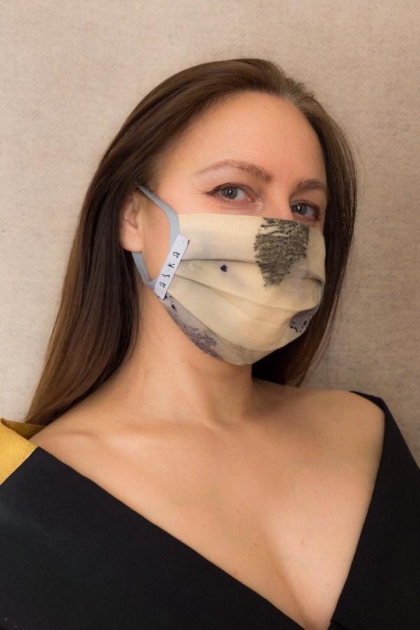 TUNDRA Protective mask in eco print organic cotton - 1