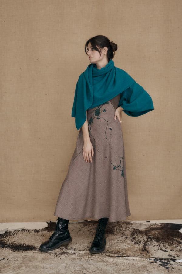 Chale mono manche en laine bleu canard TATRY - 4