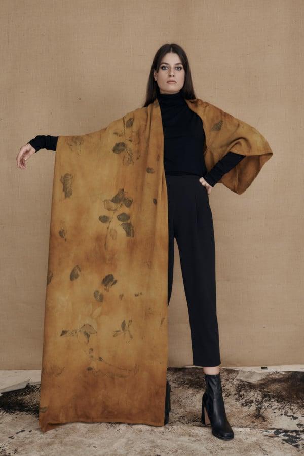 CURCUMA eco-print wool single handle shawl - 1