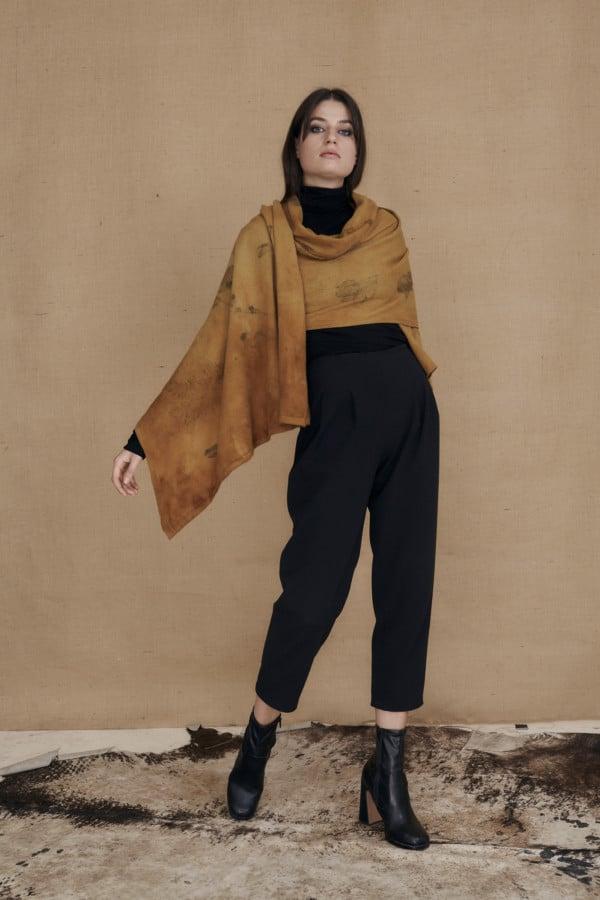 CURCUMA eco-print wool single handle shawl - 2
