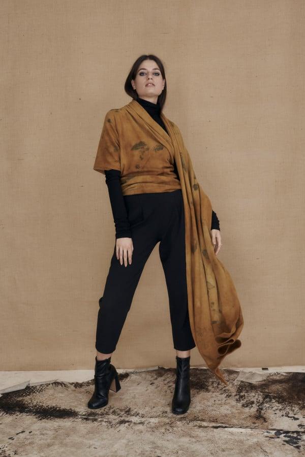 CURCUMA eco-print wool single handle shawl - 4