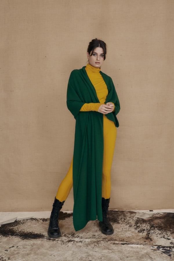 wool single handle shawl bottle green TATRY - 1