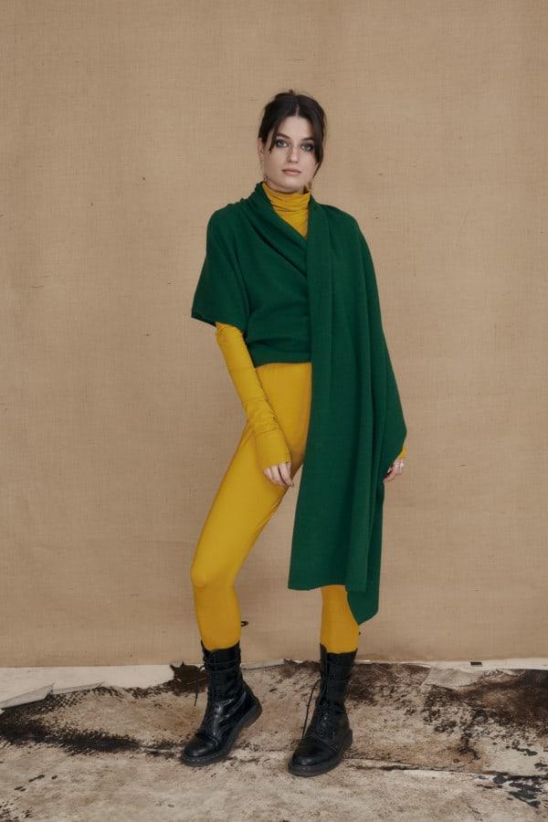 wool single handle shawl bottle green TATRY - 4